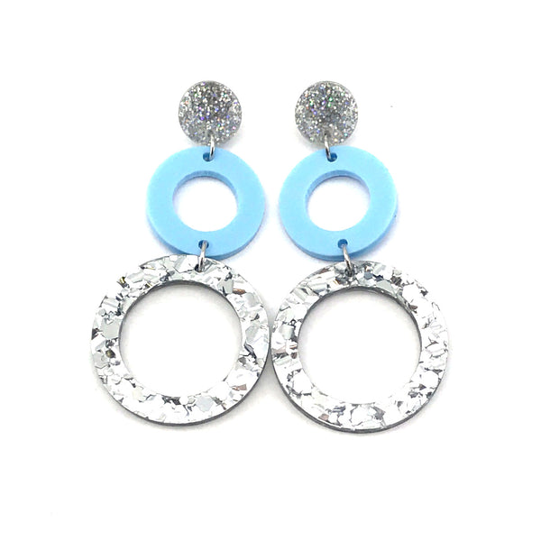 Double Ring Dangle Earring - Stardust, Pastel Blue & Chunky Silver