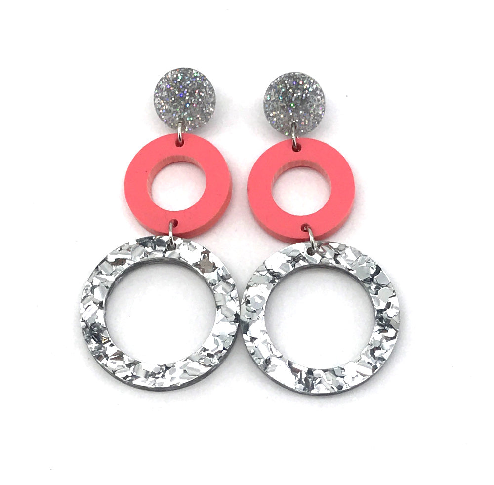 Double Ring Dangle Earring - Stardust, Pastel Raspberry & Chunky Silver