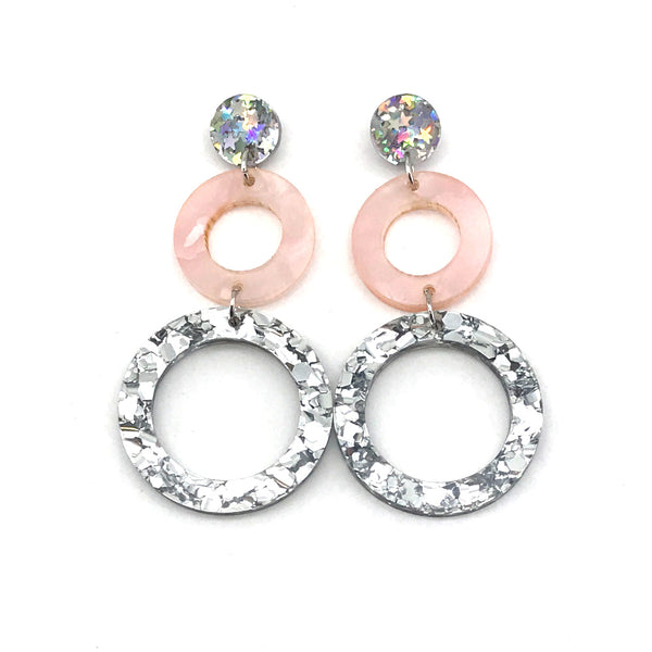 Double Ring Dangle Earring - Stars, Pale Pink & Chunky Silver