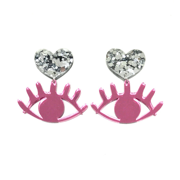 Pink Mirror Eye Dangle Earrings