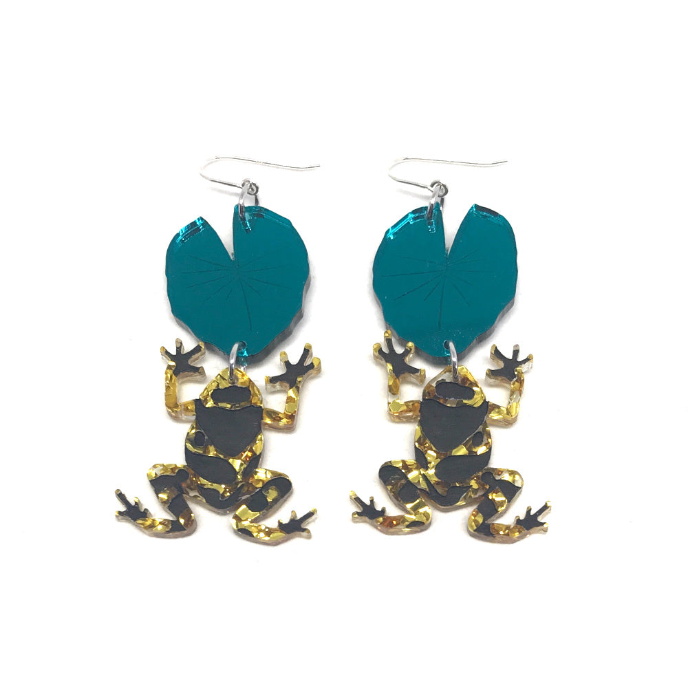 Frog and Lily Earrings