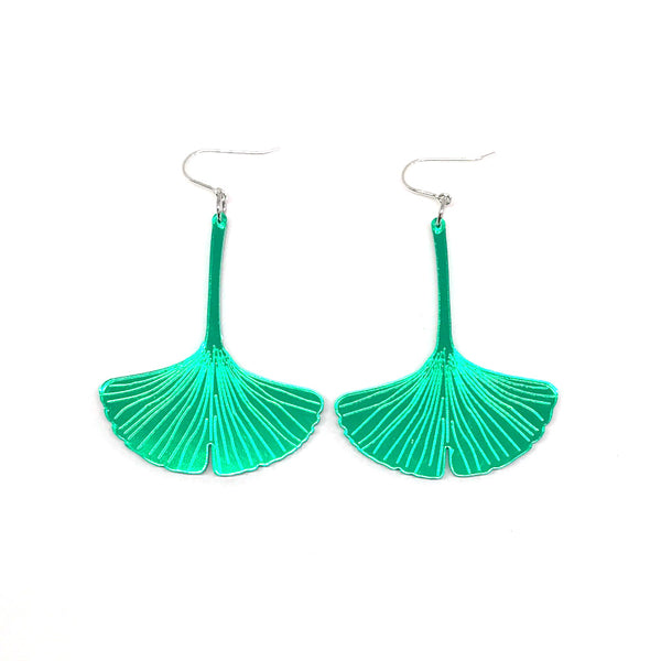 Green Mirror Ginkgo Earrings - small with hooks
