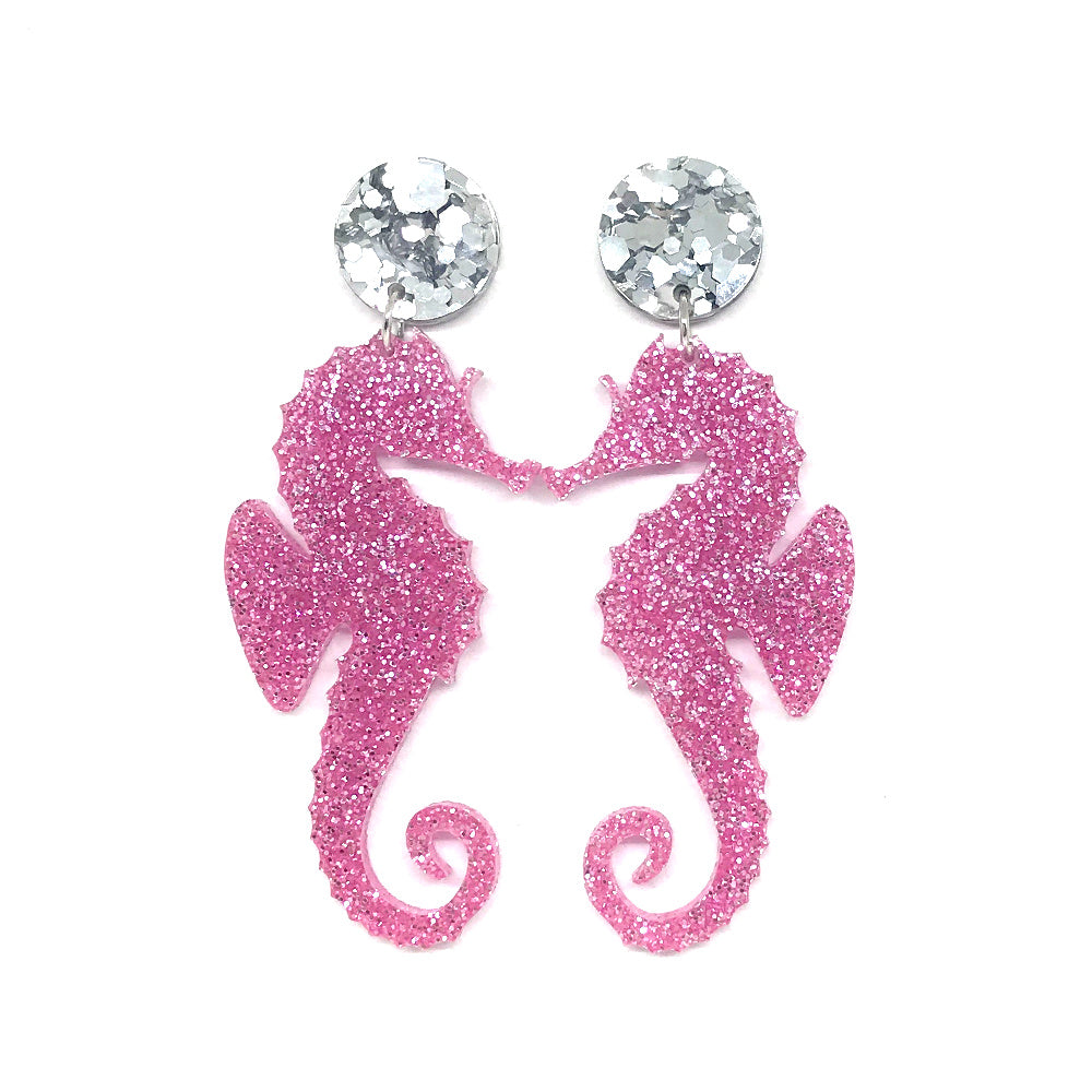 Pink Glitter Seahorse Earrings