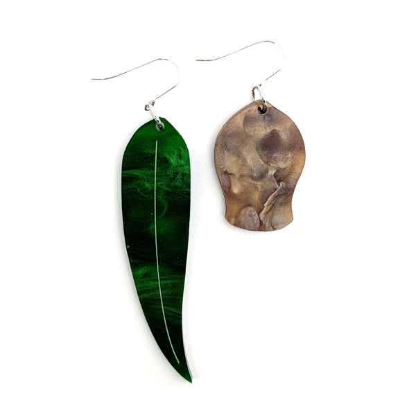 Gumnut And Leaf Odd Earring