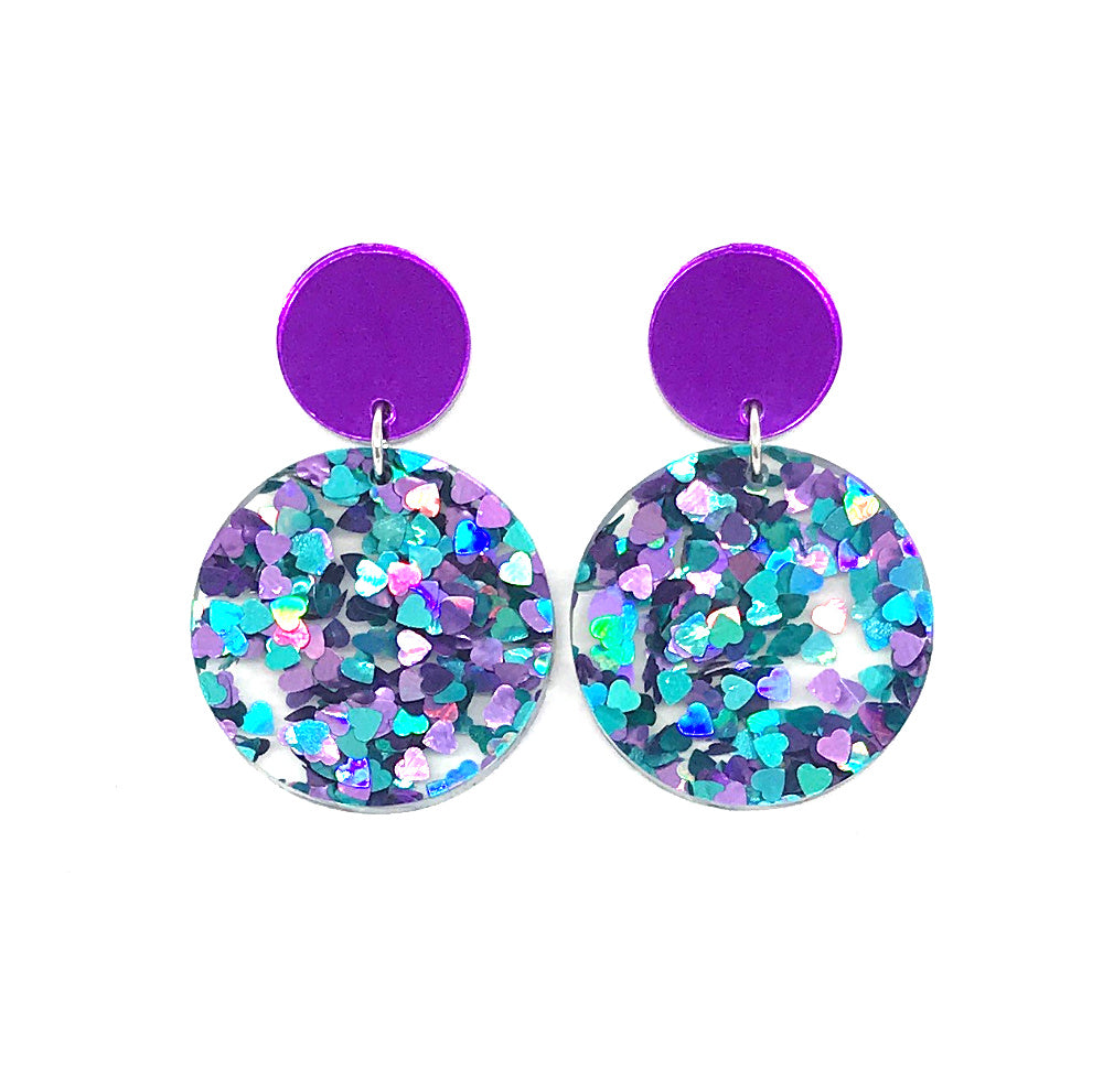 Chunky Hearts Glitter Circle Earrings