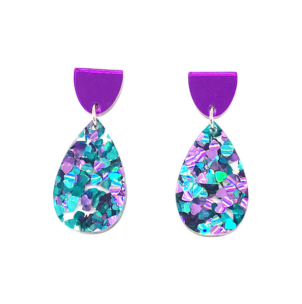 Chunky Hearts Glitter Small Drop Earrings