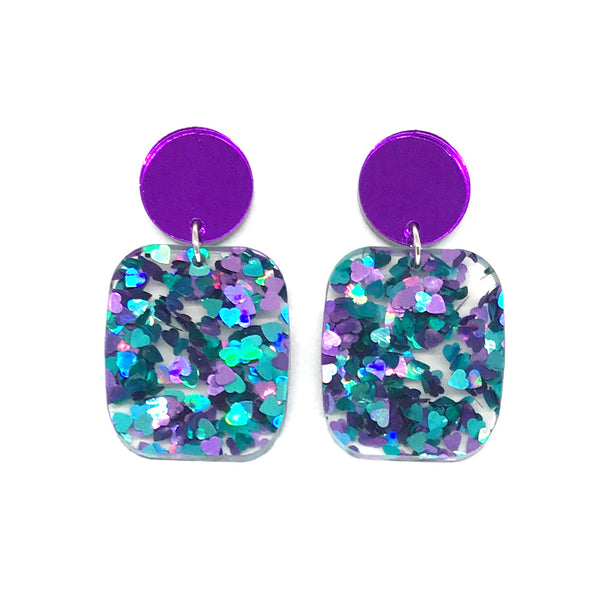 Chunky Hearts Glitter Large Rectangle Earrings