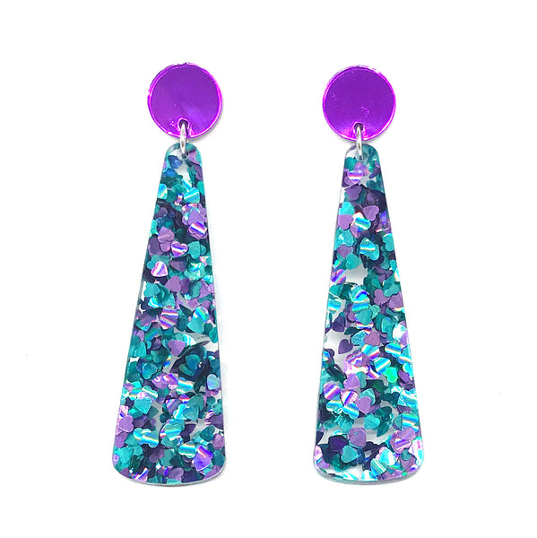 Chunky Hearts Glitter Long Drop Earrings