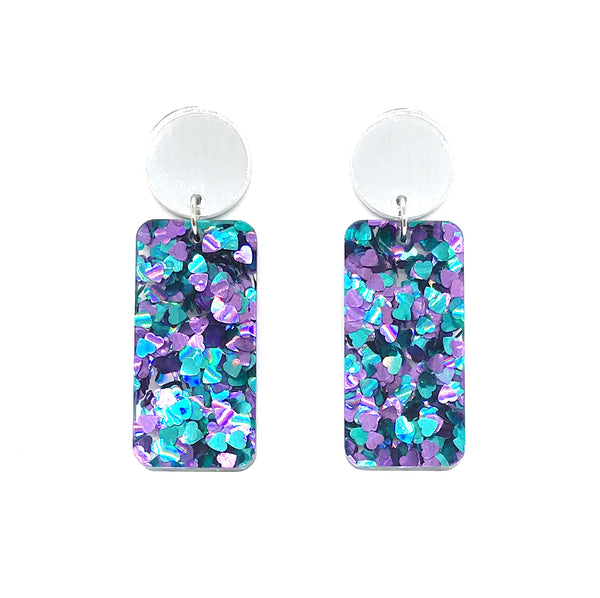 Chunky Hearts Glitter Rectangle Earrings