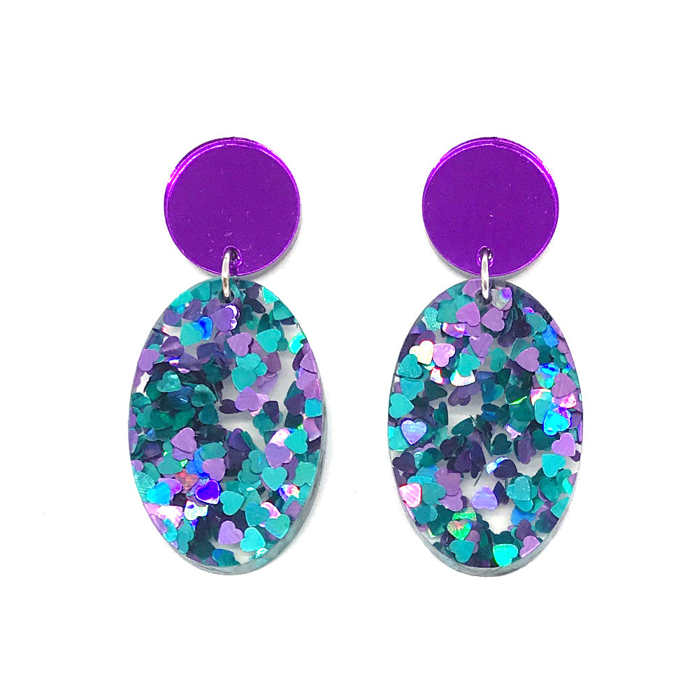 Chunky Hearts Glitter Large Oval Earrings