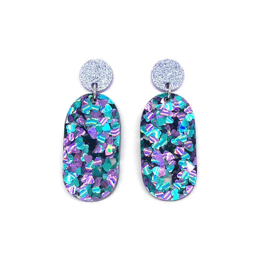 Chunky Hearts Glitter Solid Zero Earrings
