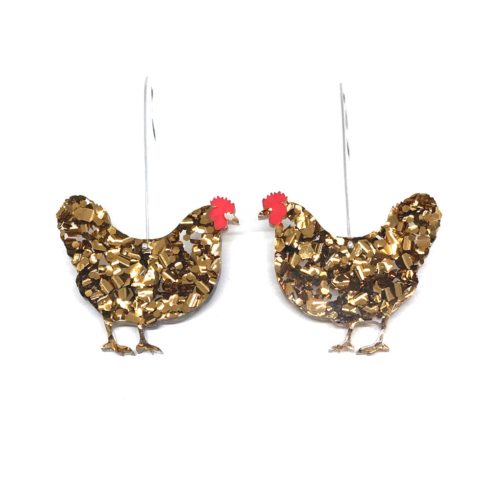Hen Earrings - Bronze