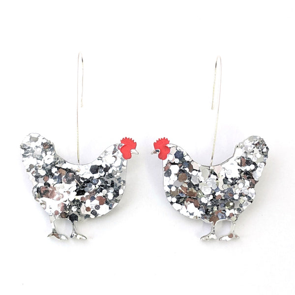 Hen Earrings - Silver