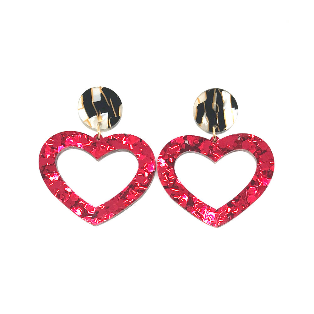 Red Chunky Hollow Heart Dangle Earrings