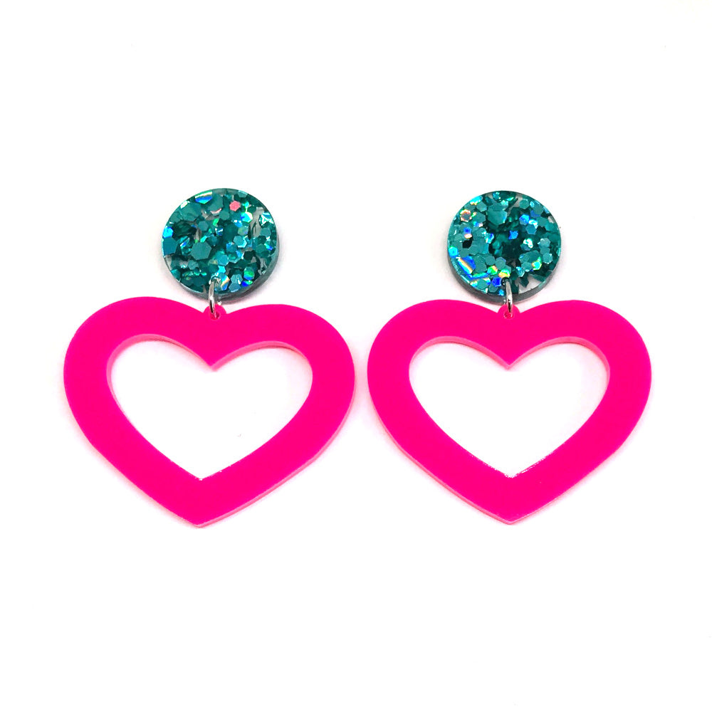 Hot Pink Hollow Heart Dangle Earrings