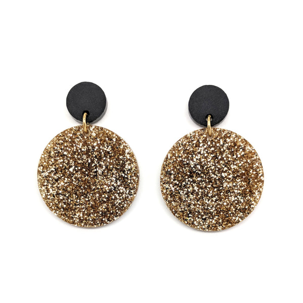 Light Gold Glitter Earrings - Circle