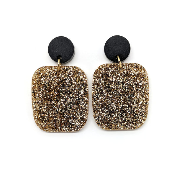 Light Gold Glitter Earrings - Large Rectangle