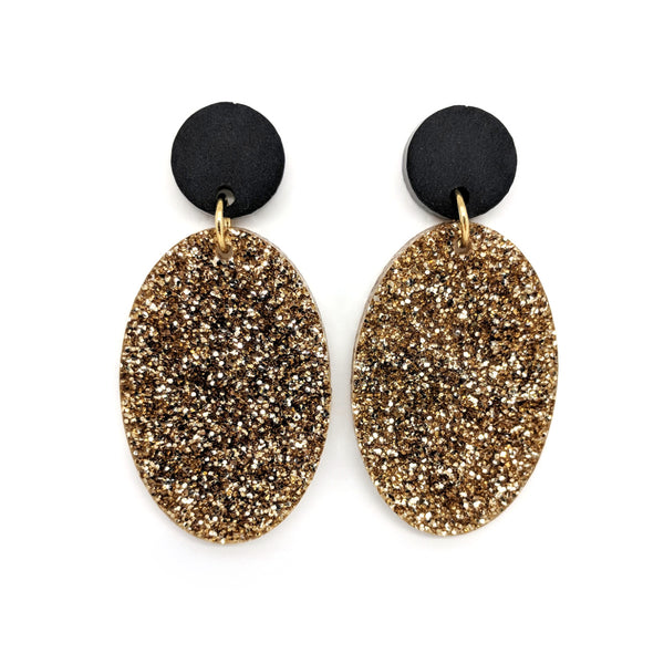Light Gold Glitter Earrings - Oval