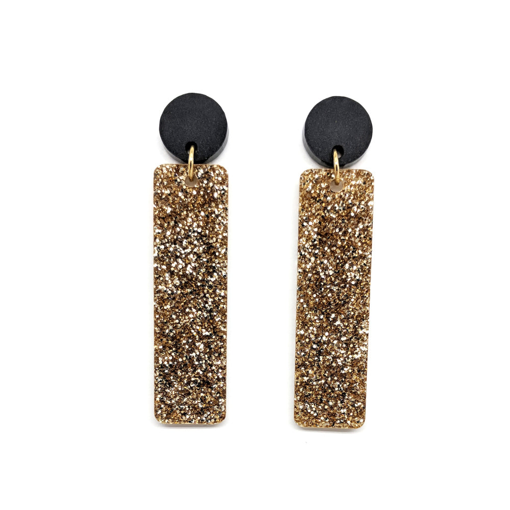 Light Gold Glitter Earrings - Stick