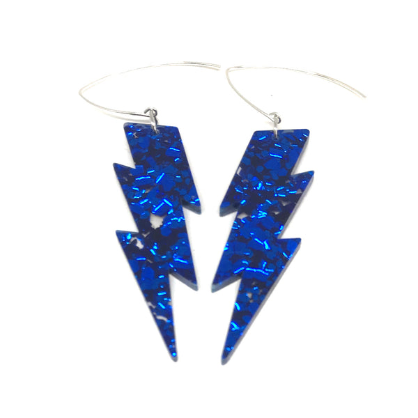 Blue Glitter Lightning Bolt Earrings - Medium