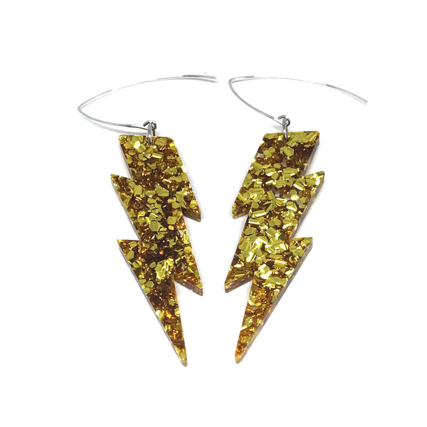 Gold Glitter Lightning Bolt Earrings - Medium