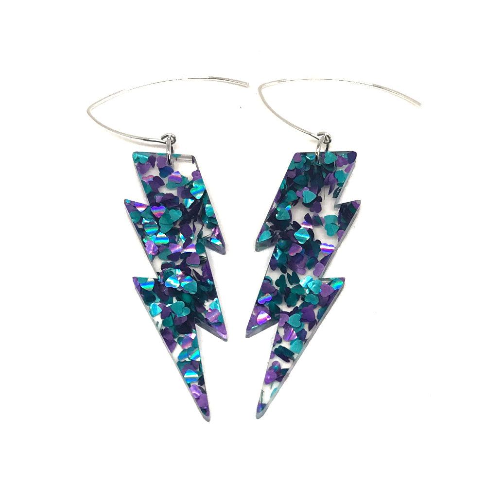 Heart Glitter Lightning Bolt Earrings - Medium