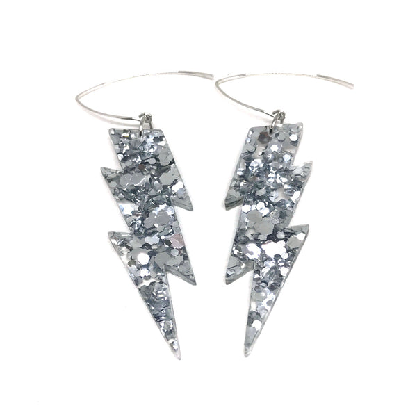 Silver Glitter Lightning Bolt Earrings - Medium