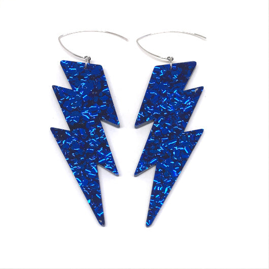 Mega Lightning Bolt Earrings - Blue Chunky