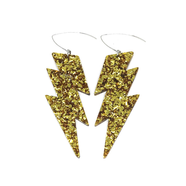 Mega Lightning Bolt Earrings - Gold Chunky