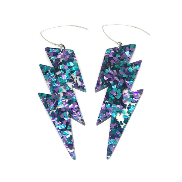 Mega Lightning Bolt Earrings - Hearts Chunky