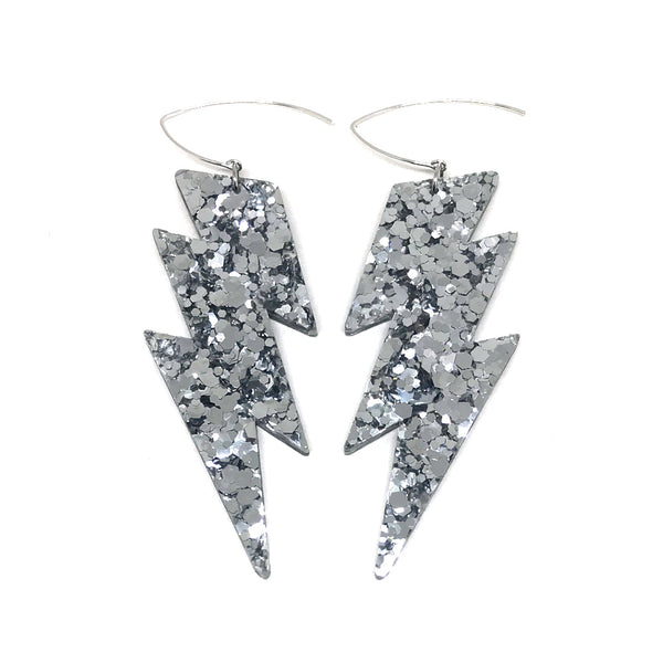 Mega Lightning Bolt Earrings - Silver Chunky