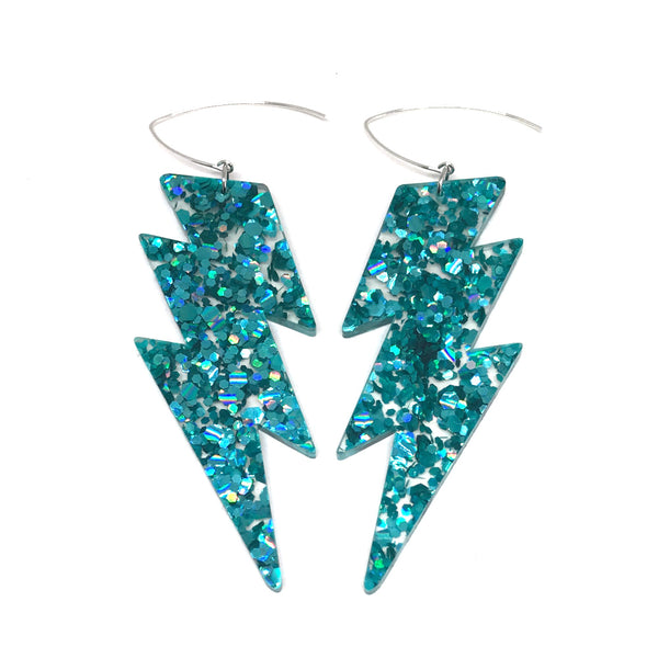 Mega Lightning Bolt Earrings - Teal Chunky