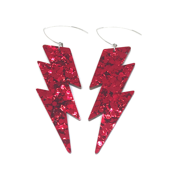 Mega Lightning Bolt Earrings - Red Chunky