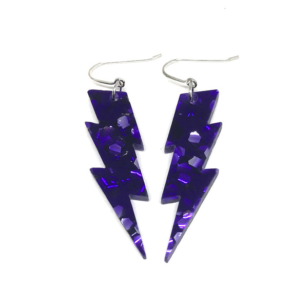 Purple Lightning Bolt Earrings - small