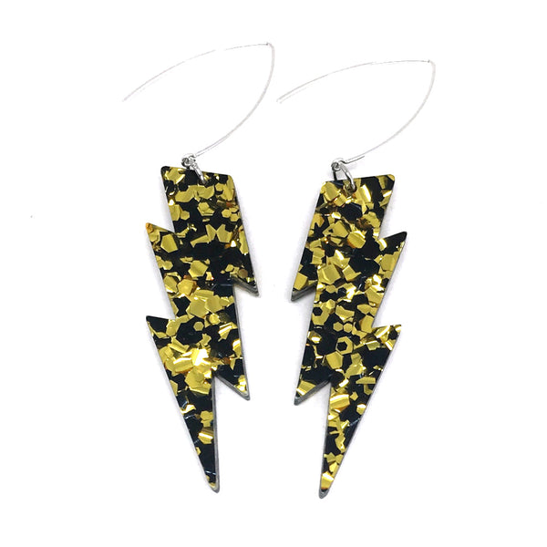 Gold & Black Lightning Bolt Earrings