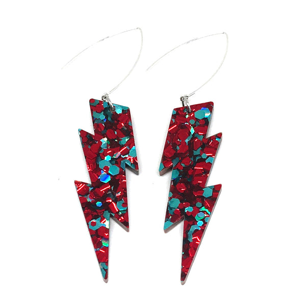 Red & Teal Lightning Bolt Earrings
