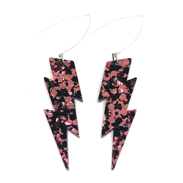 Rose Gold & Black Lightning Bolt Earrings