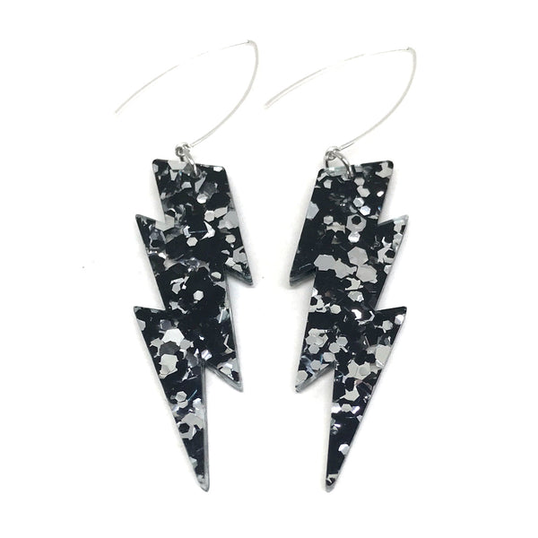 Silver & Black Lightning Bolt Earrings