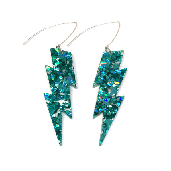 Teal Lightning Bolt Earrings