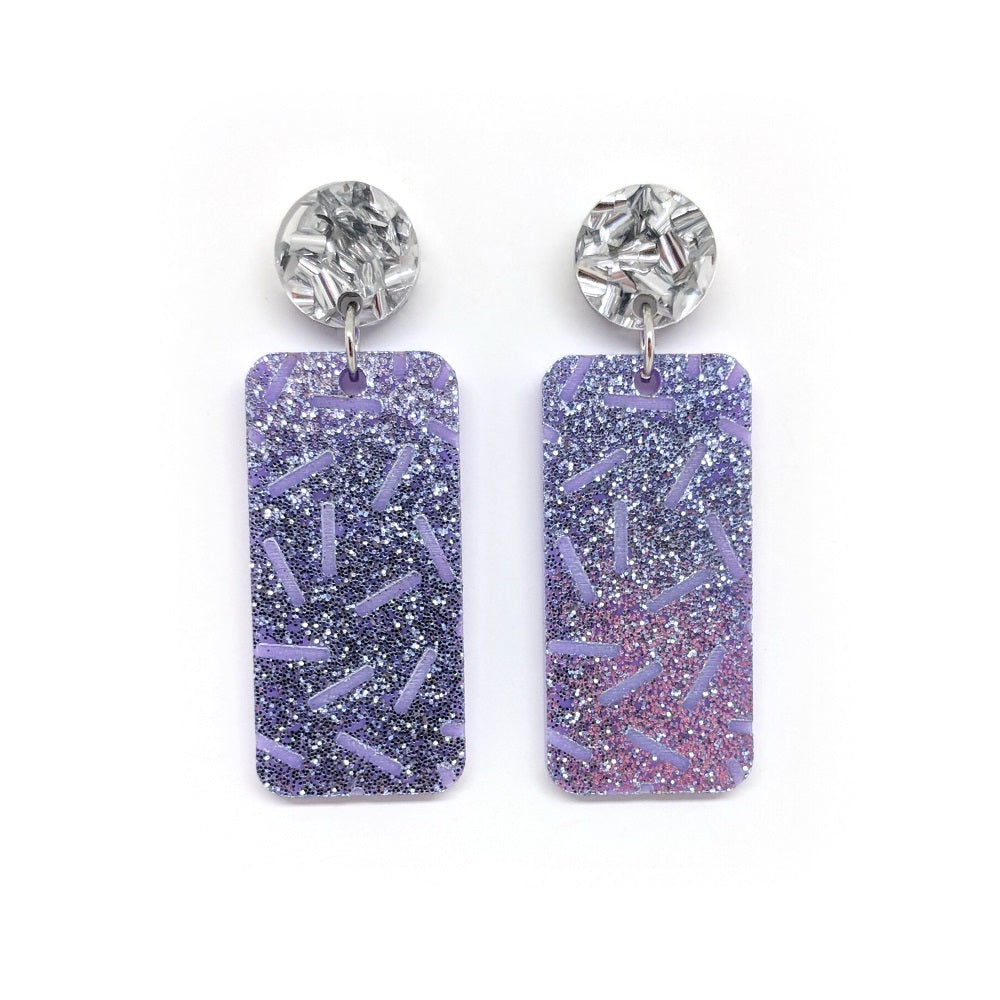 Mauve Glitter Etched Sprinkles - Rectangle