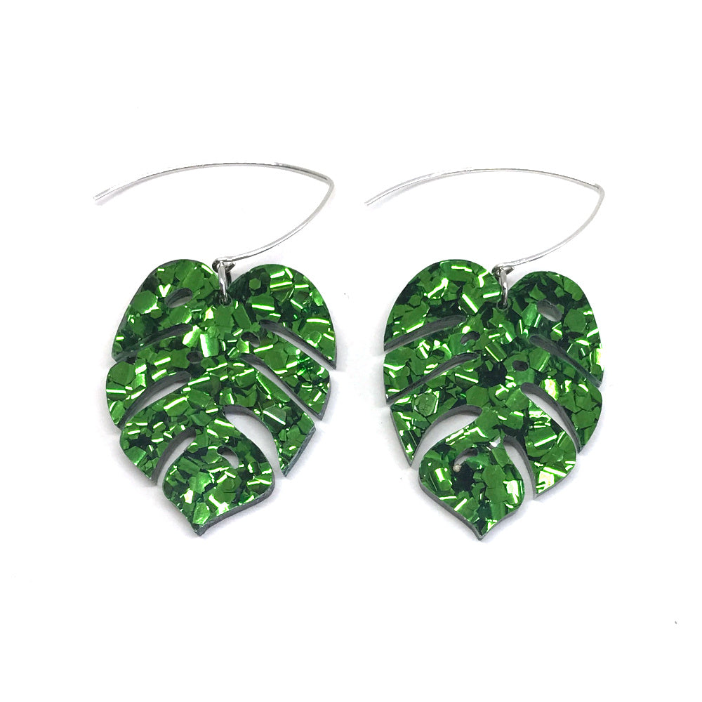 Monstera Leaf Earring - Medium Chunky Green