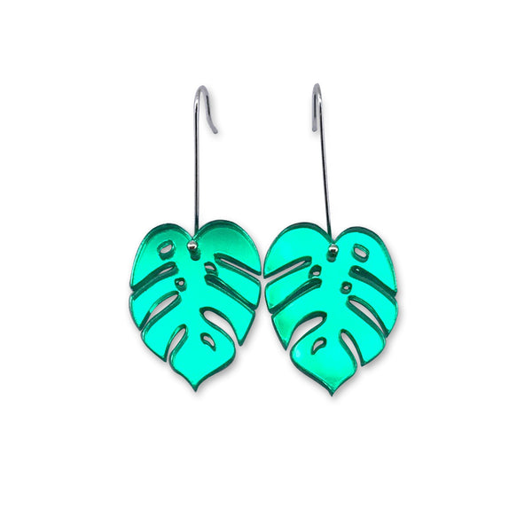 Monstera Leaf Earring - Small Green