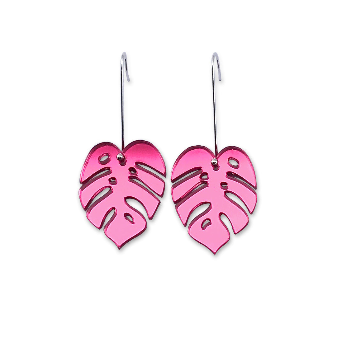 Monstera Leaf Earring - Small Pink