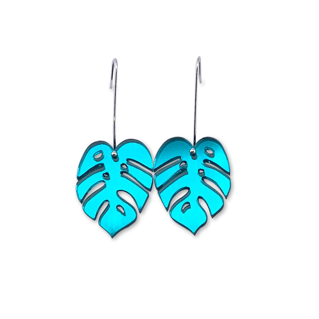 Monstera Leaf Earring - Small Teal