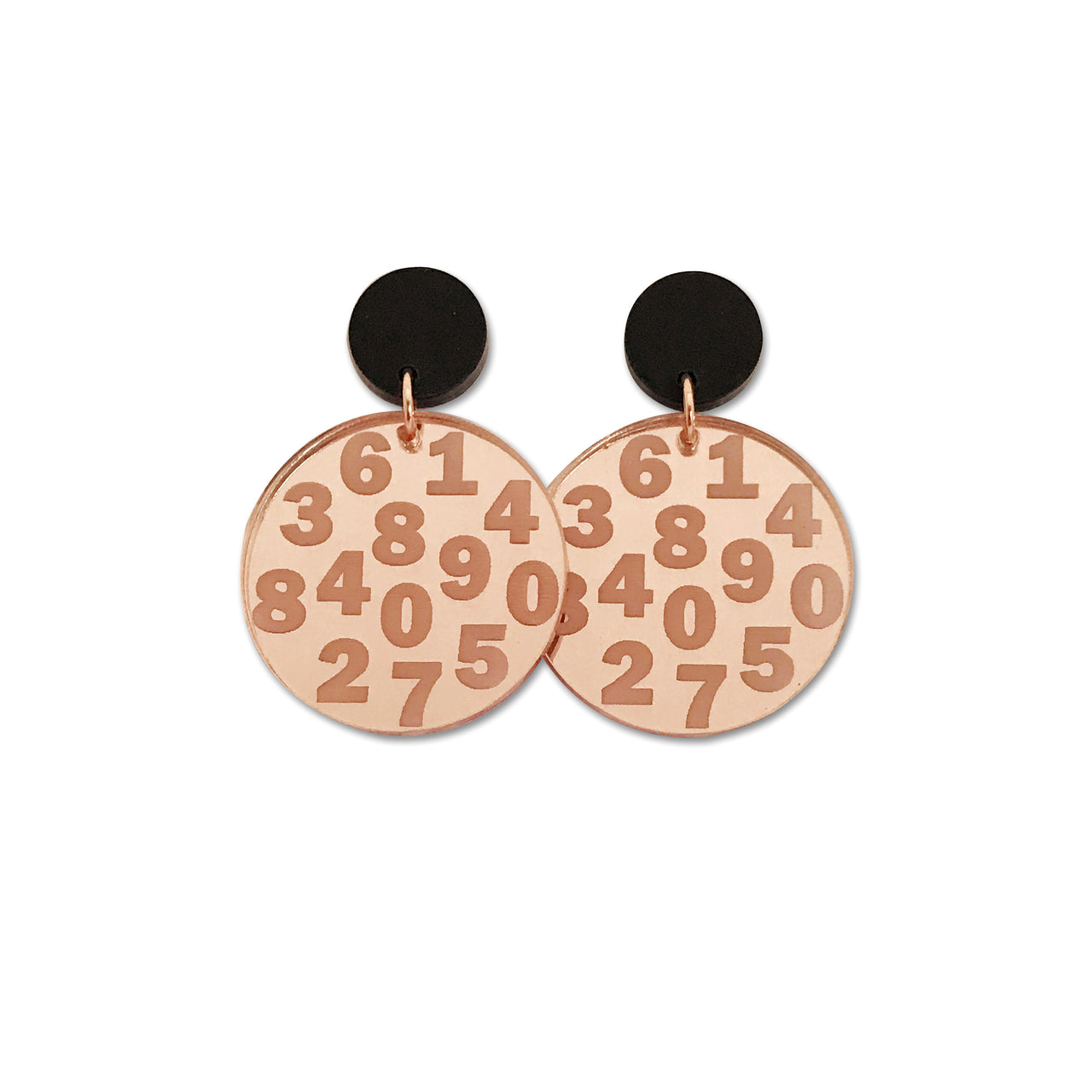 Rose Gold Mirror Circle - Chunky Numbers