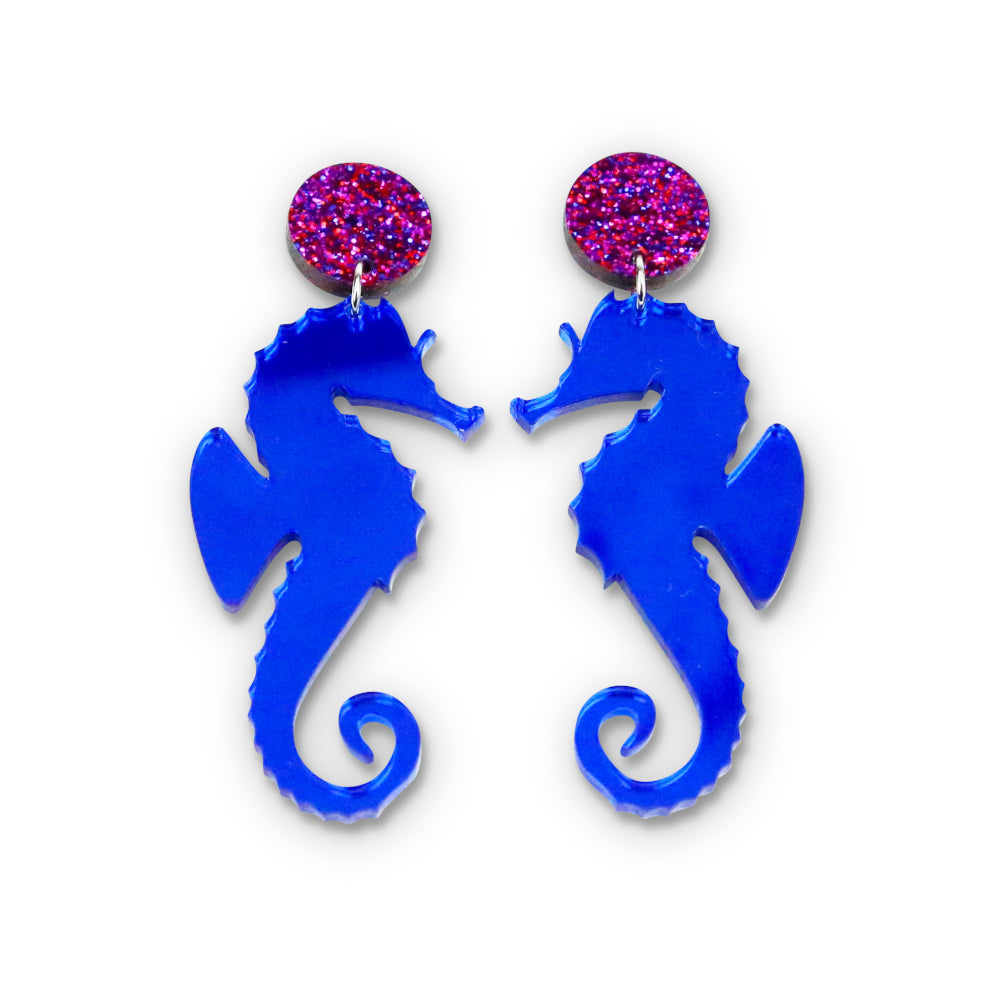 Blue Mirror Seahorse Earrings