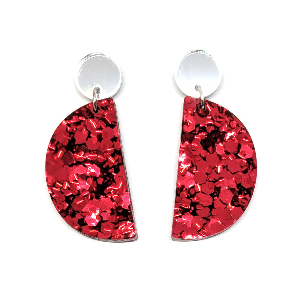 Chunky Red Glitter Semi Circle Earrings