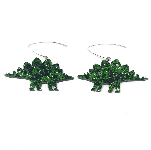 Chunky Green Glitter Stegasaurus Earrings