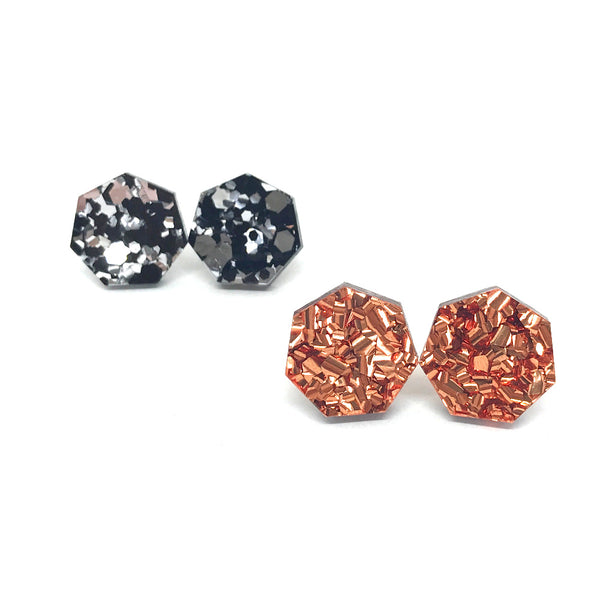 Hexagon Glitter Studs - 18mm