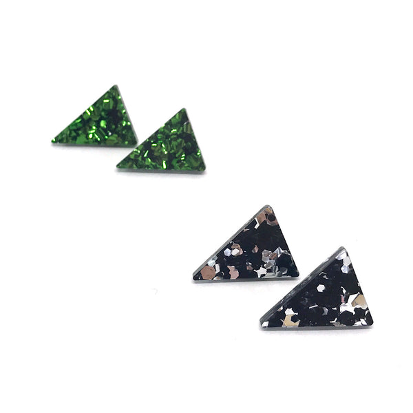 Triange Glitter Studs - 22mm